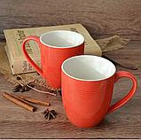 """Набор чашек 2 ед """"red & white"""" 300 мл красные керамические чашки комплект, фото 2"""