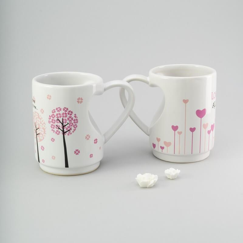 """Набор чашек 2 ед """"Сердце"""" 300 мл белые керамические чашки комплект"""
