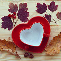 Чашка с блюдцем Сердце 150 мл красная керамическая чашка керамика, фото 1
