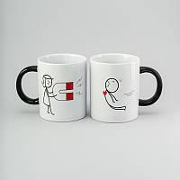 """Набор чашек """"Магнит"""" 2 шт, 300 мл белые керамические чашки комплект"""