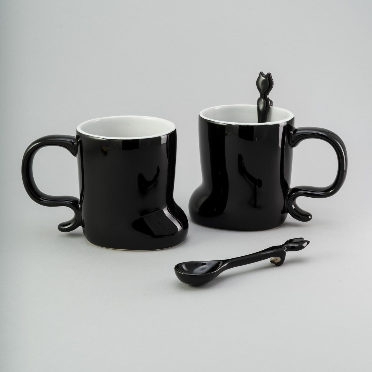 Набор чашек с ложкой 2 ед, 300 мл черные керамические чашки комплект