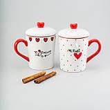 """Набор чашек с крышкой 2 ед """"princess"""" 400 мл керамические чашки с крышкой комплект чашек, фото 2"""