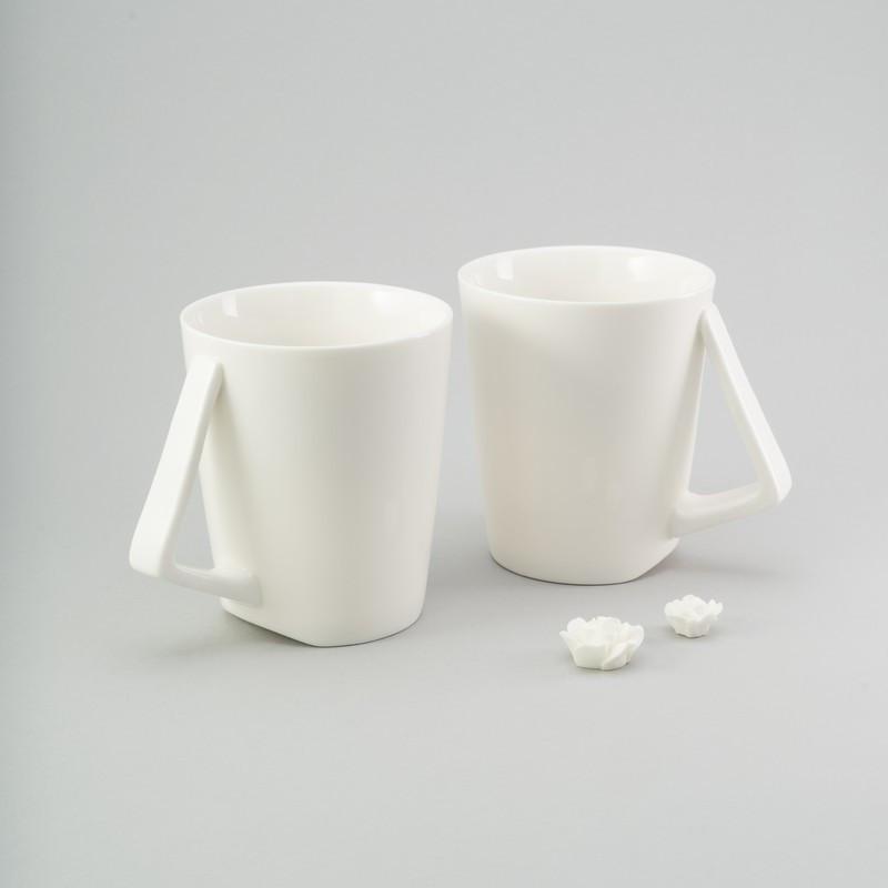 Набор чашек 200 мл, 2 ед белые керамические чашки комплект