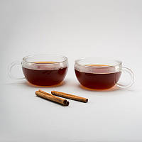 Комплект чайных чашек 200 мл 2 ед стеклянные чашки набор, фото 1
