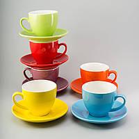 """Набор чашек с блюдцем 6 ед """"Радуга"""" 200 мл цветные керамические чашки комплект"""