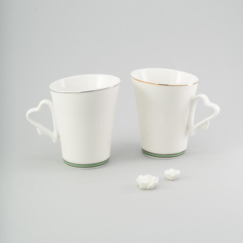 """Набор чашек 2 ед """"love"""" 225 мл чашки белые керамические комплект"""