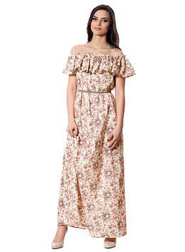 Летнее хлопковое платье с воланом (размеры S-XL)