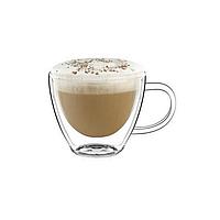 Комплект чашек с двойным дном 2 шт по 75 мл чашки стеклянные для кофе эспрессо еспресо