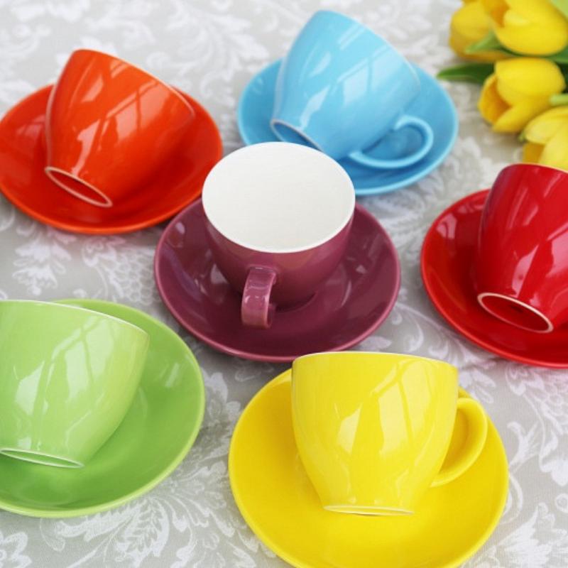 """Чашки с блюдцами набор 6 шт разные цвета """"Радуга"""" 200 мл"""