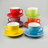 """Чашки с блюдцами набор 6 шт разные цвета """"Радуга"""" 200 мл, фото 3"""