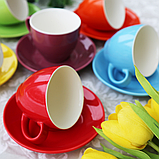 """Чашки с блюдцами набор 6 шт разные цвета """"Радуга"""" 200 мл, фото 4"""