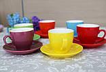 """Чашки с блюдцами набор 6 шт разные цвета """"Радуга"""" 200 мл, фото 5"""