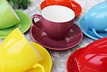 """Чашки с блюдцами набор 6 шт разные цвета """"Радуга"""" 200 мл, фото 6"""