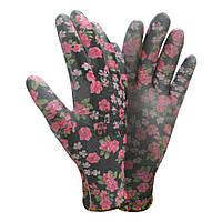 Перчатки трикотажные с частичным ПУ покрытием р8 (черные манжет) Sigma (9446501)
