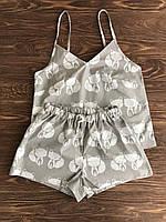 Пижама женская серая с шортами Лисички, фото 1