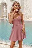Однотонное платье мини на тонких бретельках лиловое, фото 2