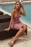 Однотонное платье мини на тонких бретельках лиловое, фото 3