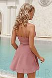 Однотонное платье мини на тонких бретельках лиловое, фото 4