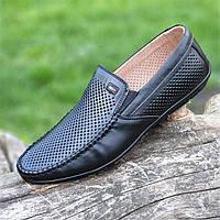 Туфли мокасины мужские кожаные летние черные ( код 239 ) - туфлі мокасини чоловічі шкіряні літні чорні, фото 1