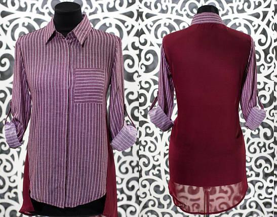 """Женская рубашка с кармашком на груди """"Коттон"""" 44 размер норма, фото 2"""