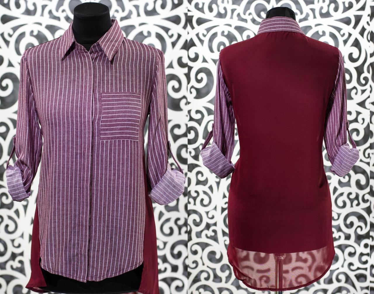"""Женская рубашка с кармашком на груди """"Коттон"""" 44 размер норма"""
