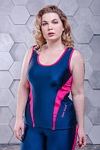 Майка женская для фитнеса с бифлекса размер плюс синяя с розовым (46-60)