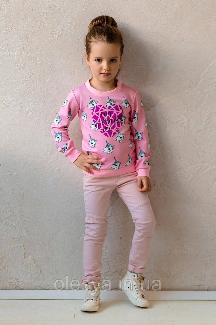 Свитшот для девочки с модными принтами Размеры 110- 122