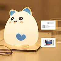 Силиконовый ночник «Super cat» 3DTOYSLAMP голубой с пультом ДУ, фото 1