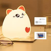 Силиконовый ночник «Super Cat» 3DTOYSLAMP розовый с пультом ДУ