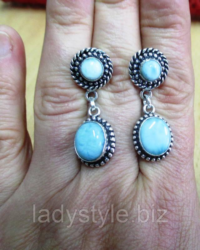 купить серебряные серьги с натуральным ларимаром студия леди стиль