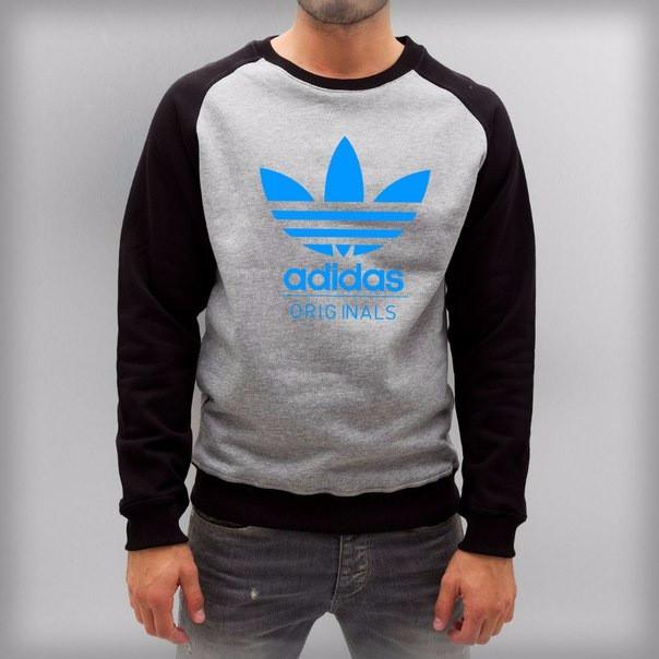 Серо-черный мужской реглан Adidas (Адидас)