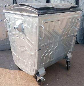 Оцинкований сміттєвий контейнер з плоскою кришкою 1,1 м3