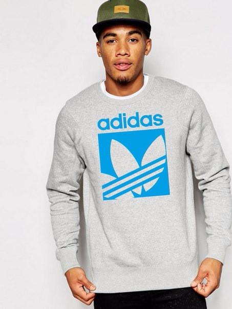 Мужская спортивная кофта (спортивный свитшот) Adidas (Адидас), серая