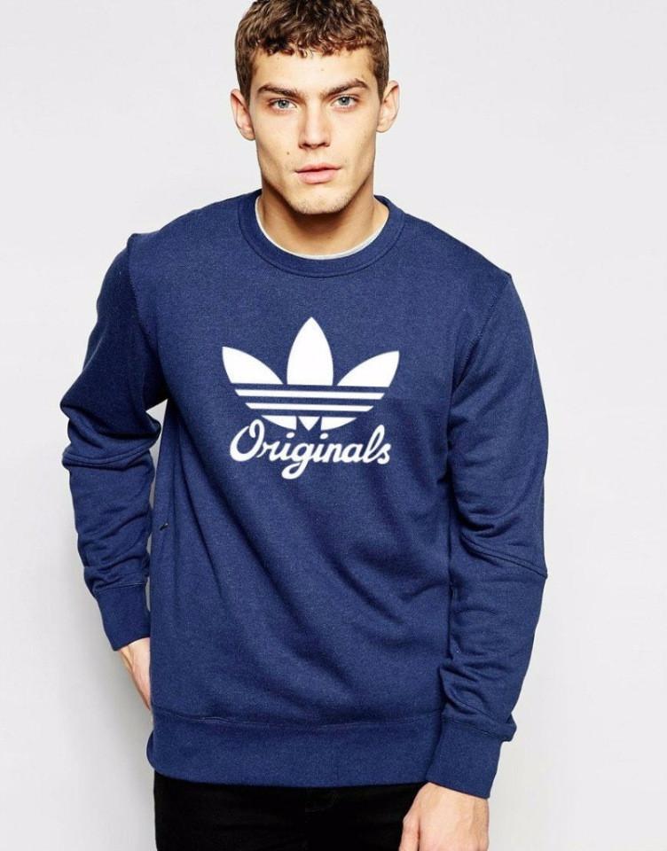 Мужской спортивный свитшот  Adidas, (Адидас) темно-синяя