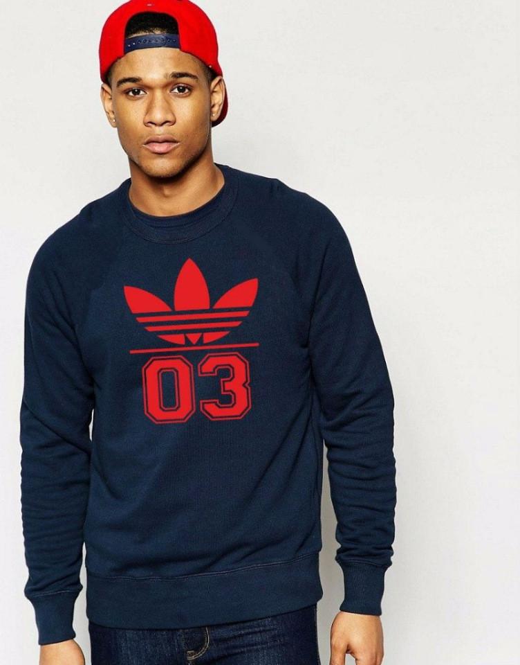 Мужская спортивная кофта (спортивный свитшот) Adidas (Адидас), темно-синяя