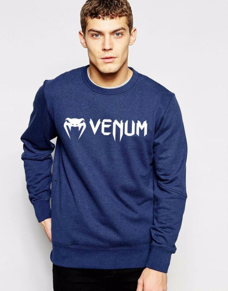 Мужская спортивная кофта (спортивный свитшот) Venum (Венум), темно-синяя