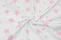 Ранфорс 240 см Звезды розовые на белом