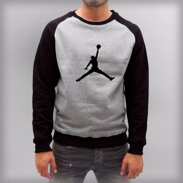 Мужской спортивный свитшот Jordan (Джордан), серо-черный