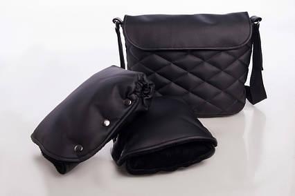 Комплект Сумка и рукавицы на коляску DECOZA.MOMS, эко кожа, Черный