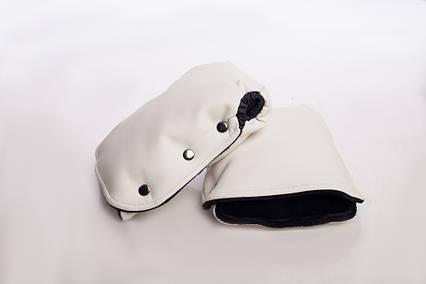 Муфта-рукавицы на коляску, DECOZA.MOMS, эко кожа, Белый