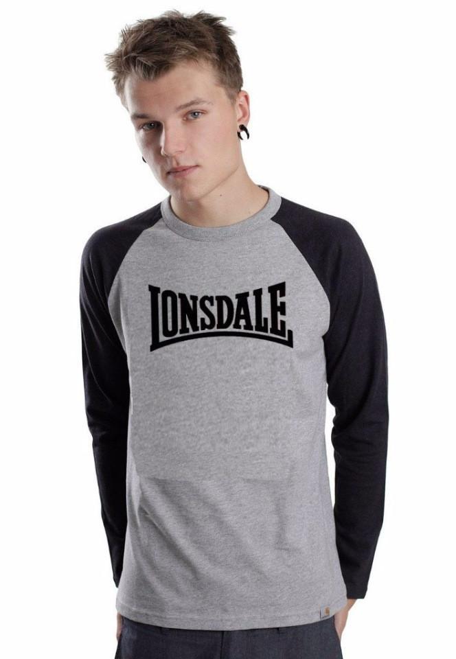 Летняя мужская спортивная кофта Lonsdale (Лонсдейл), серо-черная