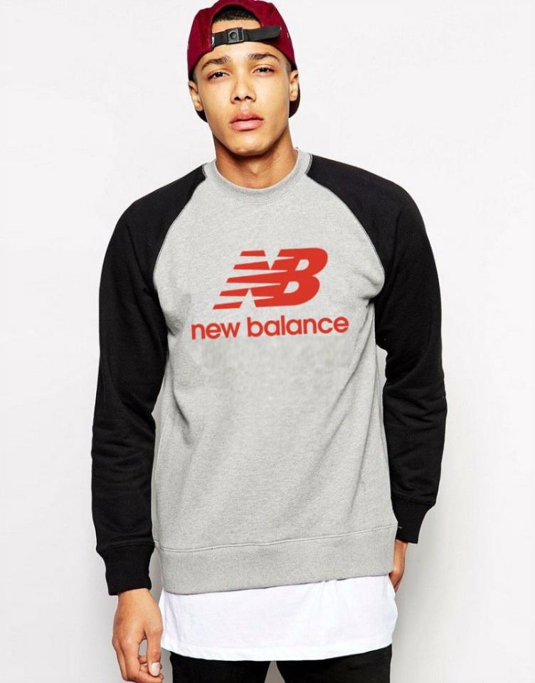 Мужской спортивный свитшот New Balance (Нью Беленс), серо-черный