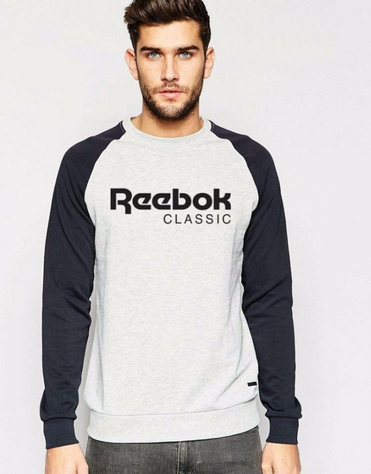 Мужская спортивная кофта (спортивный свитшот) Reebok (Рибок), серо-черная