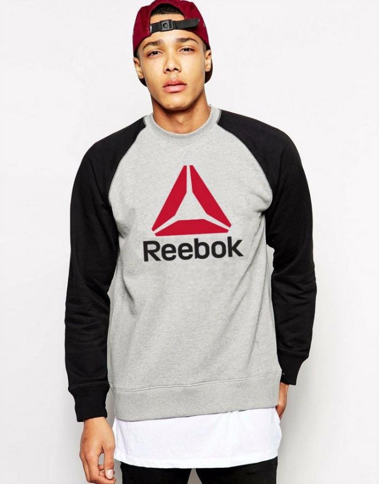 Демисезонная мужская спортивная кофта Reebok (Рибок), серо-черная