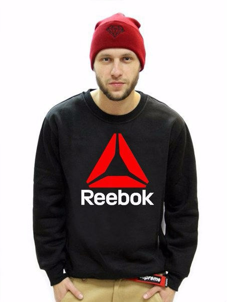 Мужская спортивная кофта (спортивный свитшот) Reebok (Рибок), черная