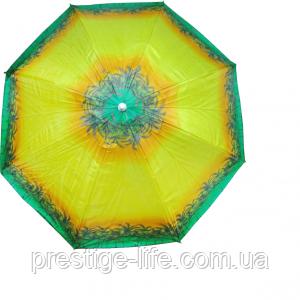 Зонт диаметром 2,2 м. Система ромашка. Серебренное покрытие. Пальмы, фон Жёлтый