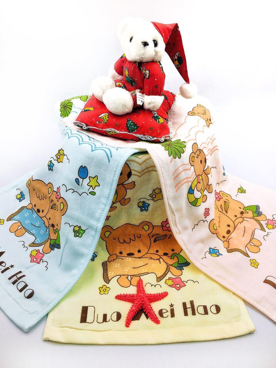"""Махровое детское полотенце 25х50 """"Медведь и зверята"""" - набор 4 шт"""