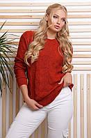 Полушерстяной вязаный свитер 152 терракот 48-54 размер универсальный