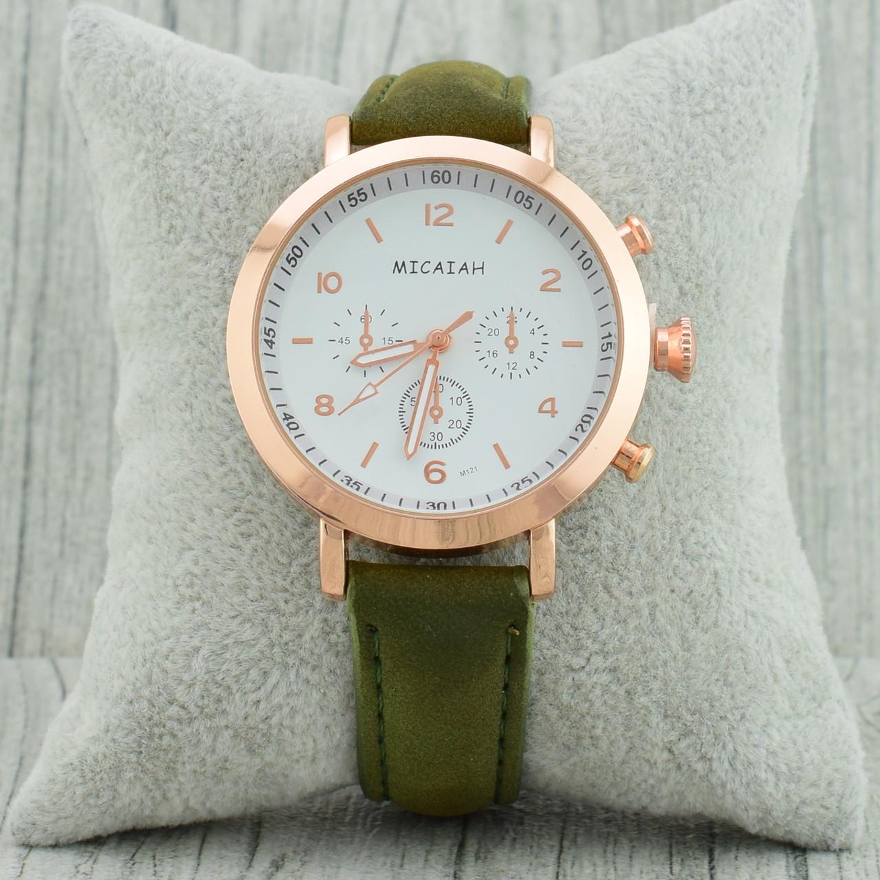 Часы G-101 диаметр циферблата 3.8 см, длина ремешка 17-21 см, цвет хаки, позолота РО