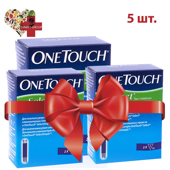 Тест полоски One Touch Select (Ван Тач Селект) №50 5 упаковок